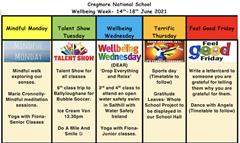 Wellbeing Week Timetable